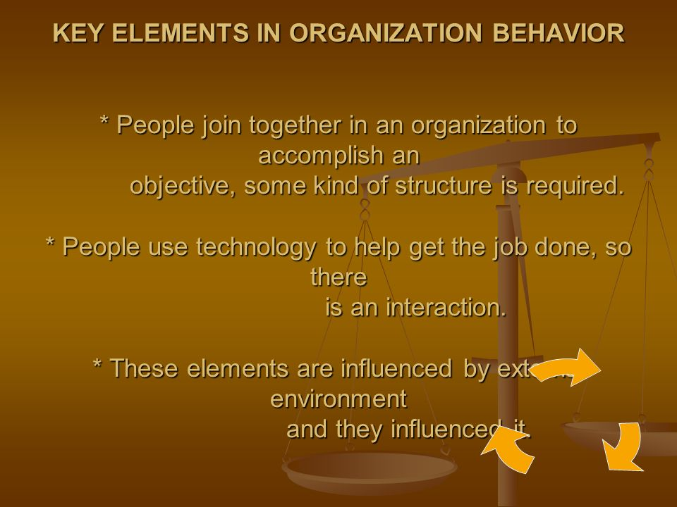 defining organization behavior Definition of organizational behavior: actions and attitudes of individuals and groups toward one another and toward the organization as a whole, and its effect on the organization's functioning and performance.