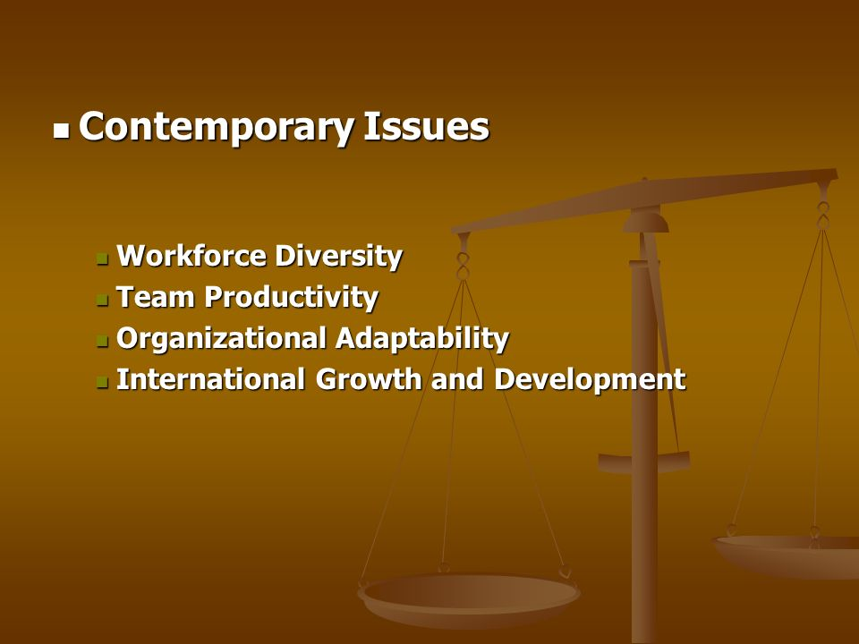 Contemporary Issues Workforce Diversity Team Productivity