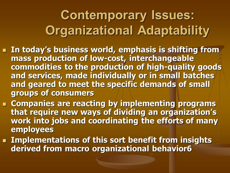 Contemporary Issues: Organizational Adaptability
