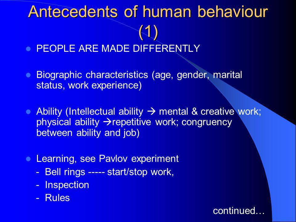 Antecedents of human behaviour (1)