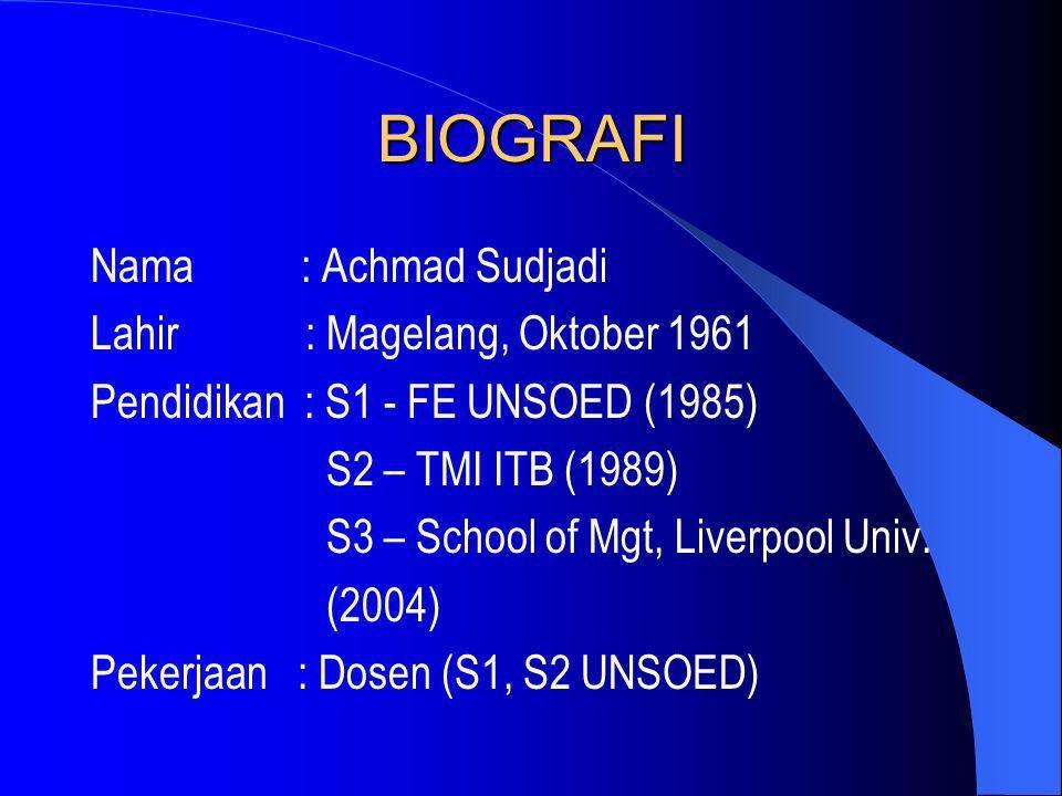 BIOGRAFI Nama : Achmad Sudjadi Lahir : Magelang, Oktober 1961