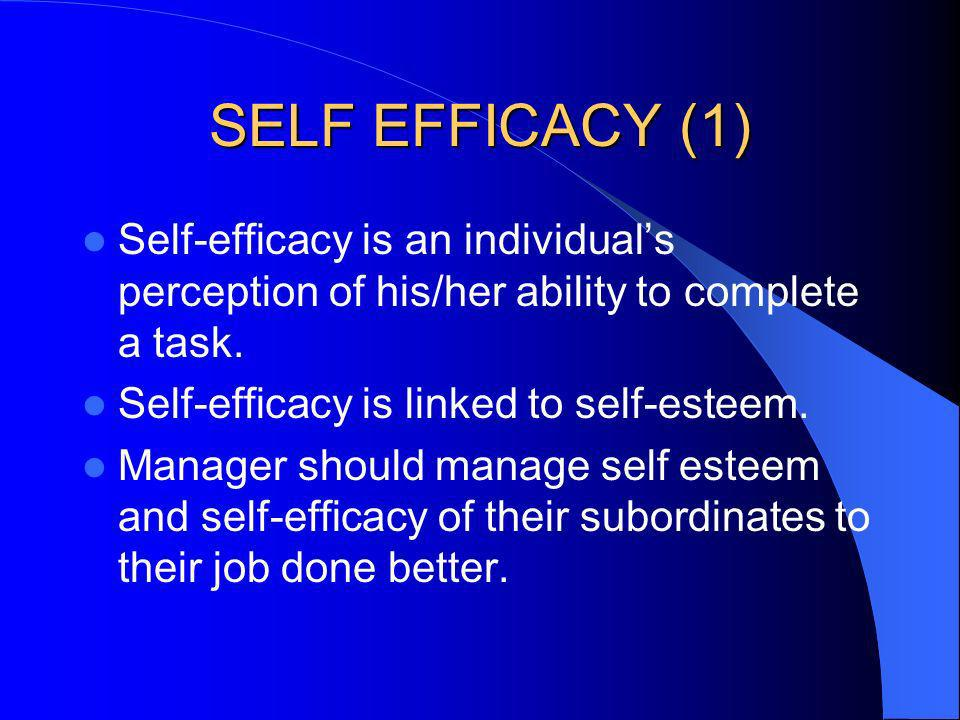 SELF EFFICACY (1) Self-efficacy is an individual's perception of his/her ability to complete a task.