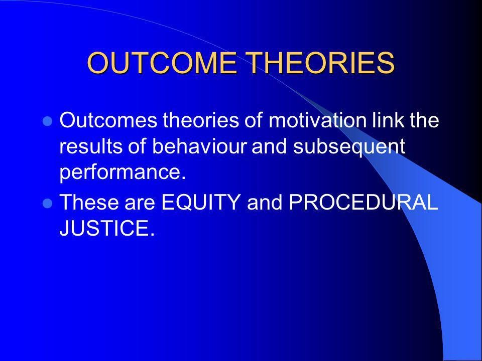 OUTCOME THEORIES Outcomes theories of motivation link the results of behaviour and subsequent performance.