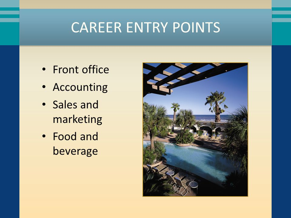 CAREER ENTRY POINTS Front office Accounting Sales and marketing