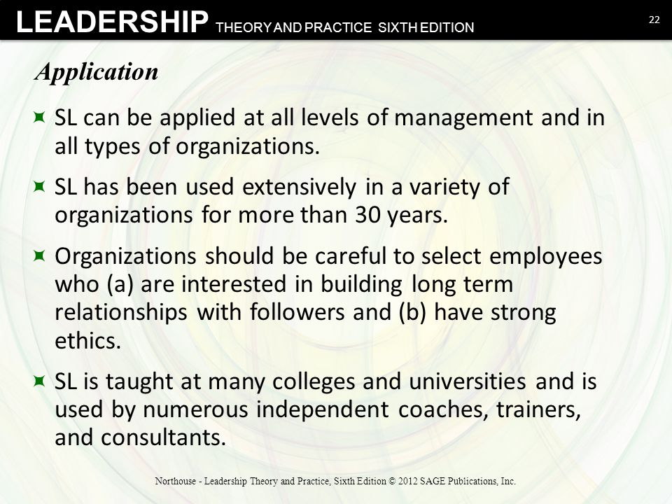 Application SL can be applied at all levels of management and in all types of organizations.