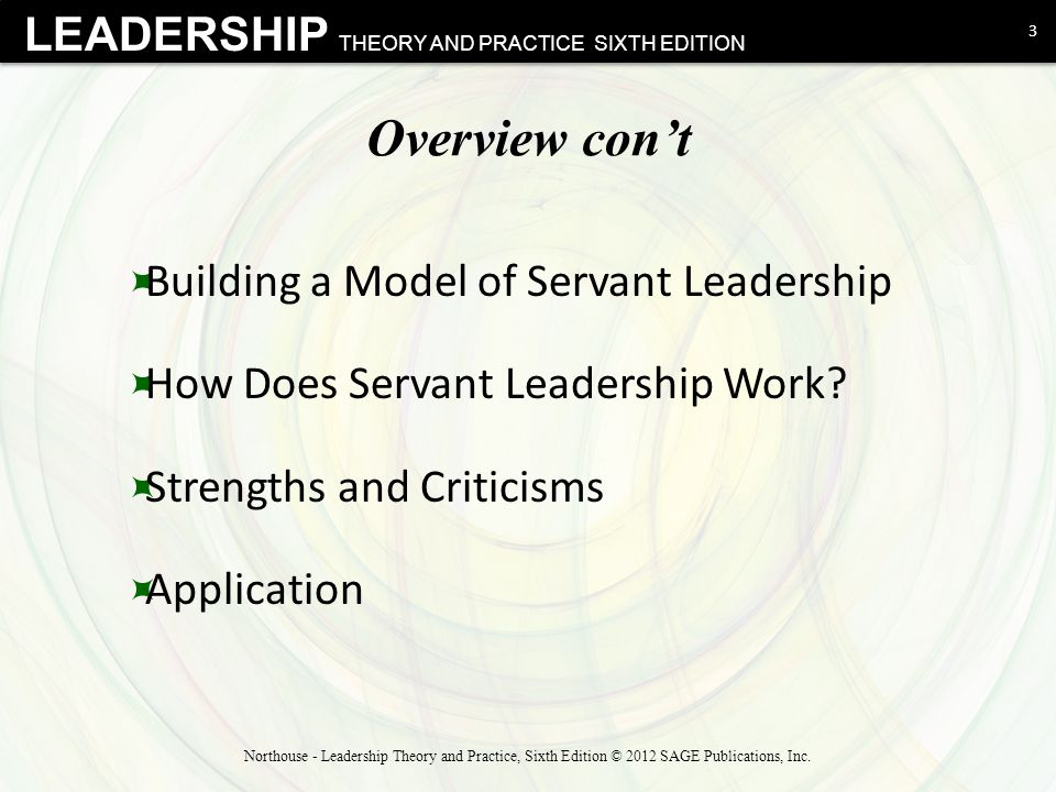 Overview con't Building a Model of Servant Leadership