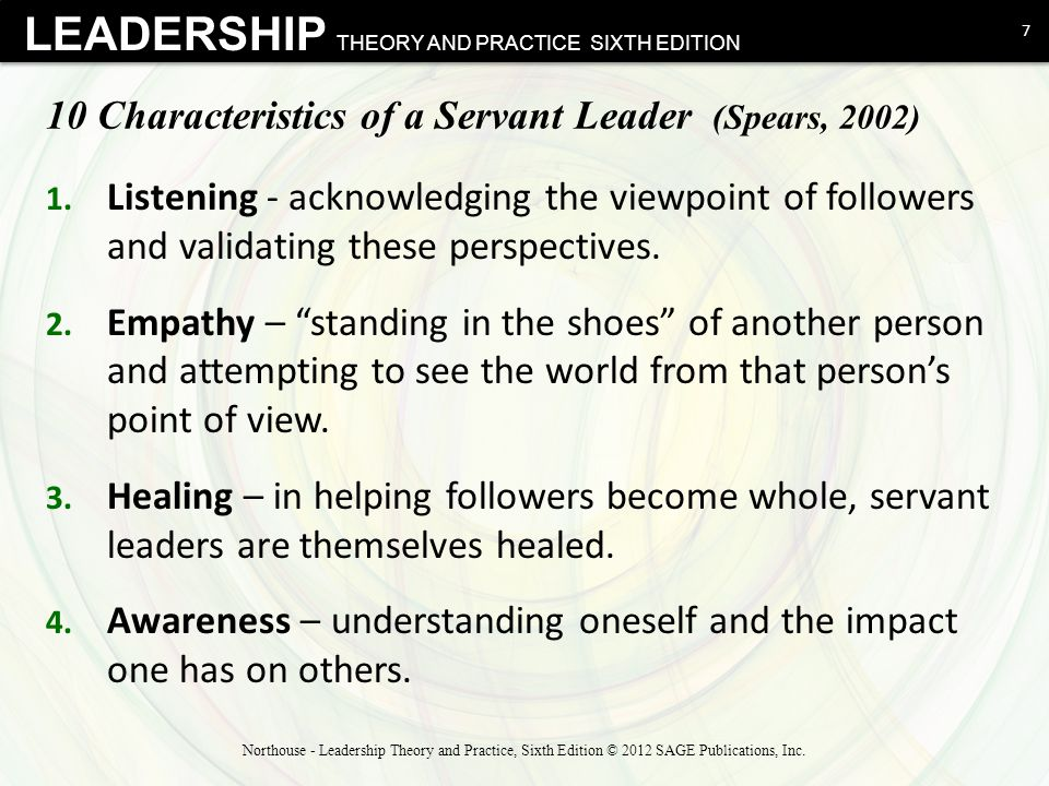 10 Characteristics of a Servant Leader (Spears, 2002)