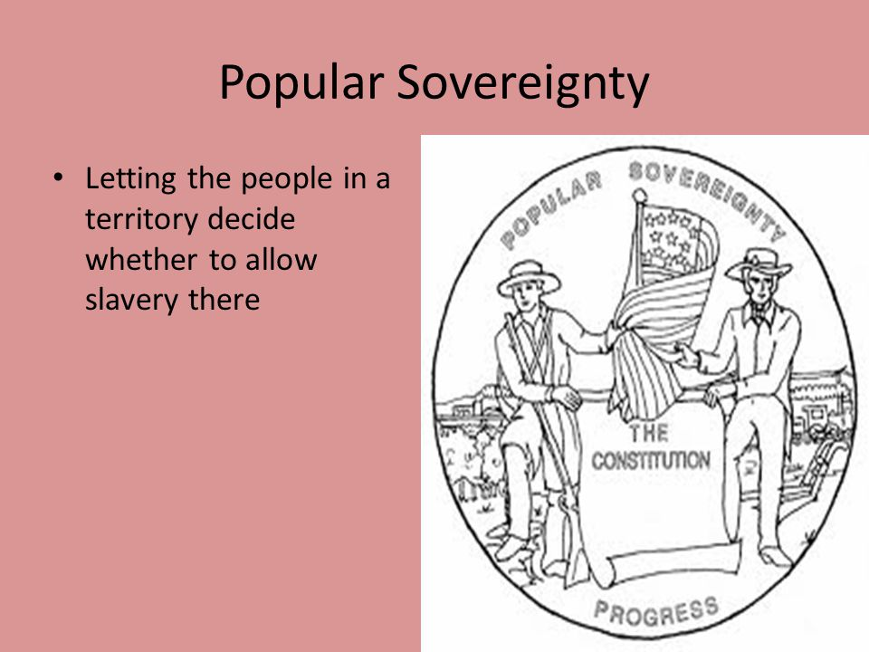 Popular Sovereignty Letting the people in a territory decide whether to allow slavery there