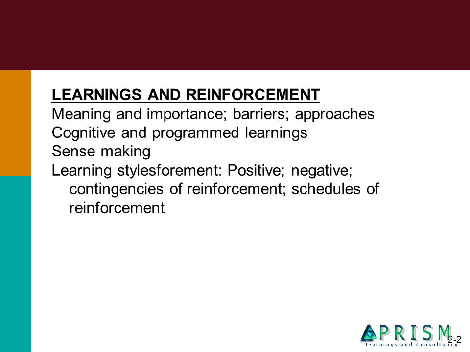 P R I S M LEARNINGS AND REINFORCEMENT