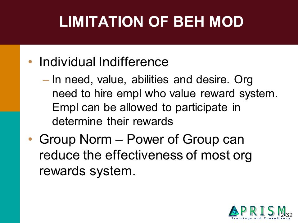 LIMITATION OF BEH MOD P R I S M Individual Indifference