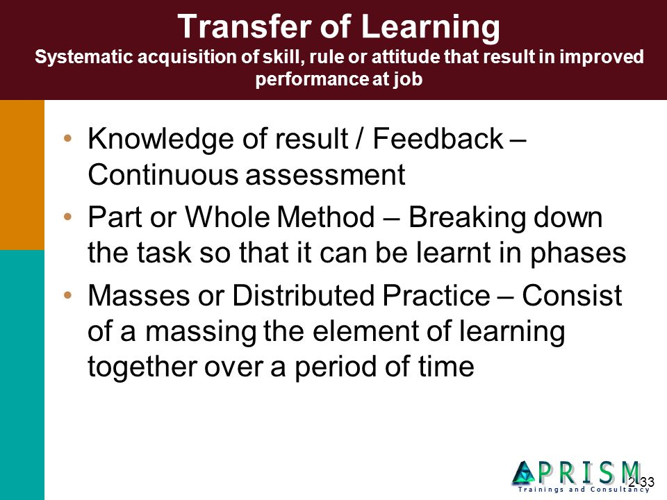 Transfer of Learning Systematic acquisition of skill, rule or attitude that result in improved performance at job