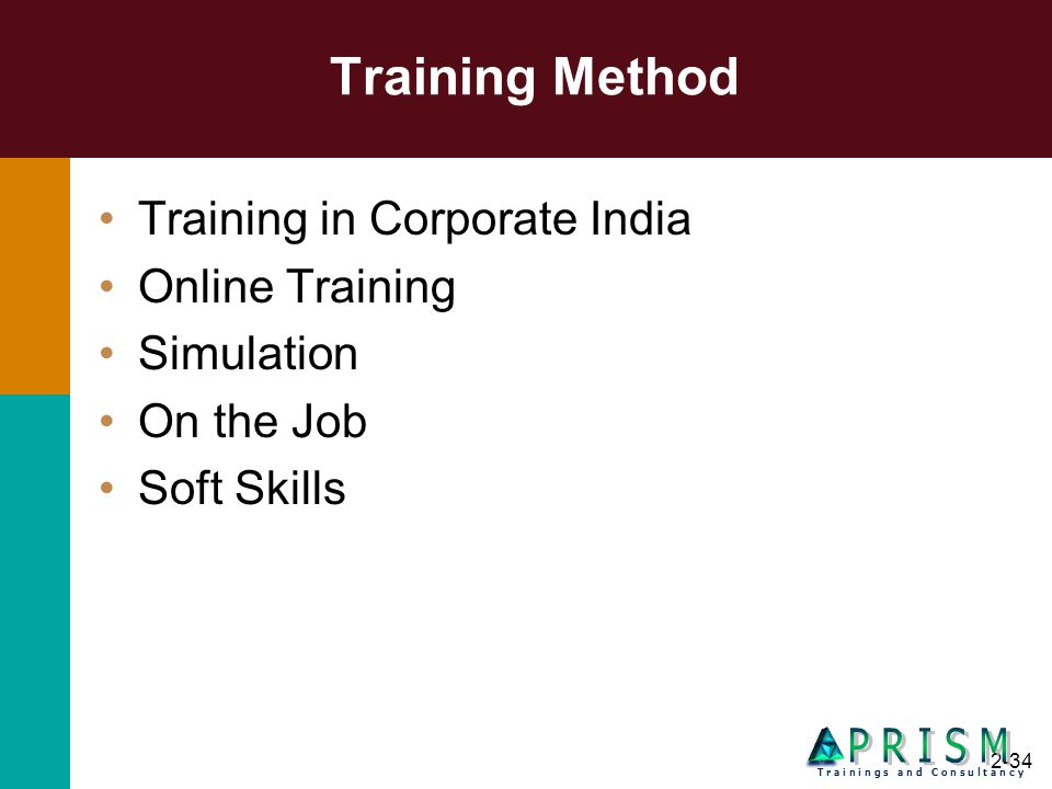 Training Method P R I S M Training in Corporate India Online Training