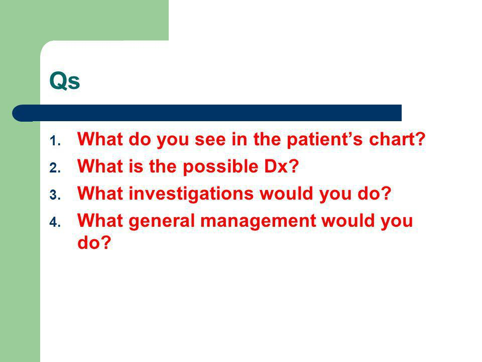 Qs What do you see in the patient's chart What is the possible Dx