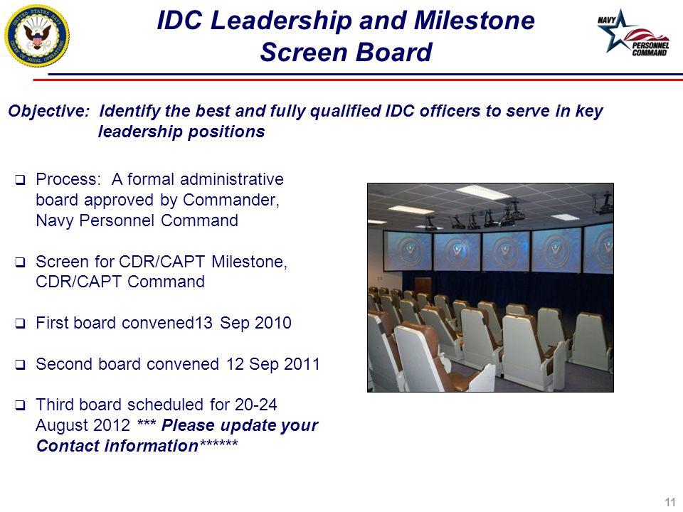 IDC Leadership and Milestone