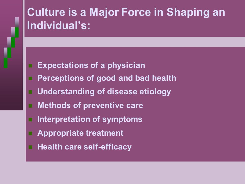 Culture is a Major Force in Shaping an Individual's: