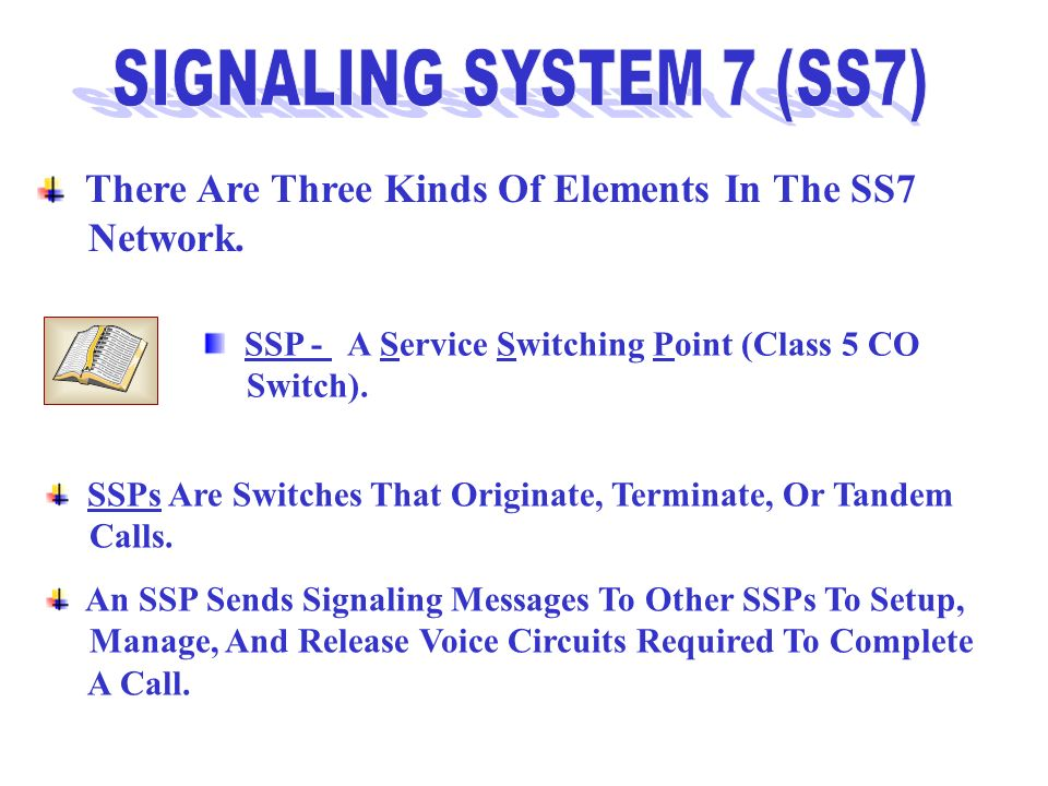 SIGNALING SYSTEM 7 (SS7) There Are Three Kinds Of Elements In The SS7
