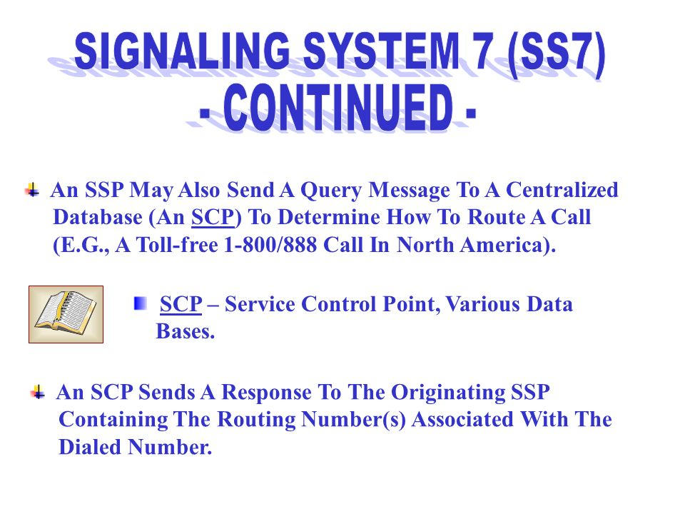 SIGNALING SYSTEM 7 (SS7) - CONTINUED -