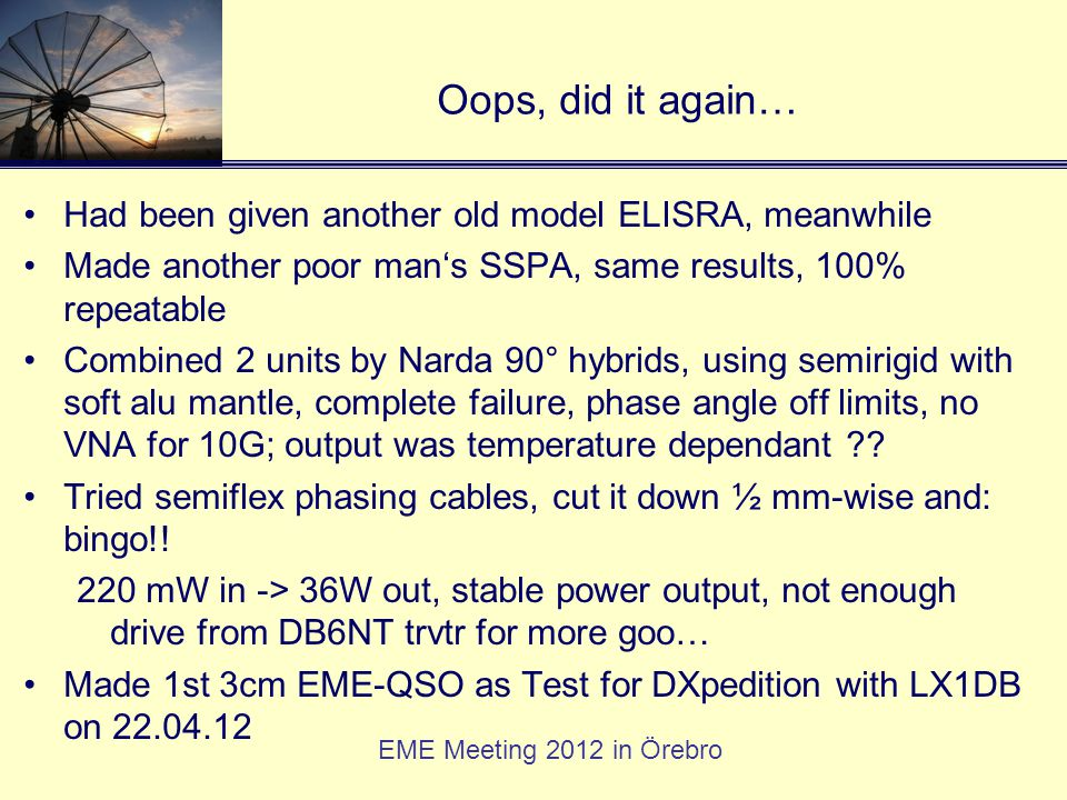 Oops, did it again… Had been given another old model ELISRA, meanwhile