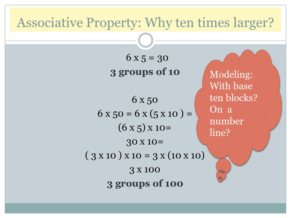 Associative Property: Why ten times larger