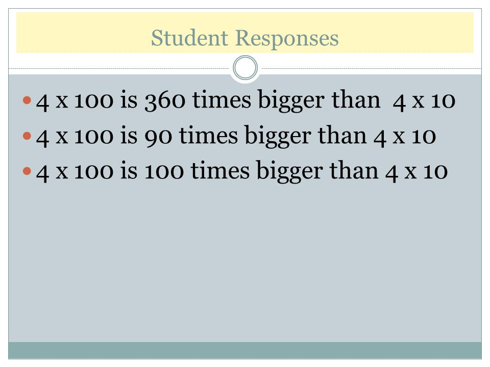Student Responses 4 x 100 is 360 times bigger than 4 x 10. 4 x 100 is 90 times bigger than 4 x 10.