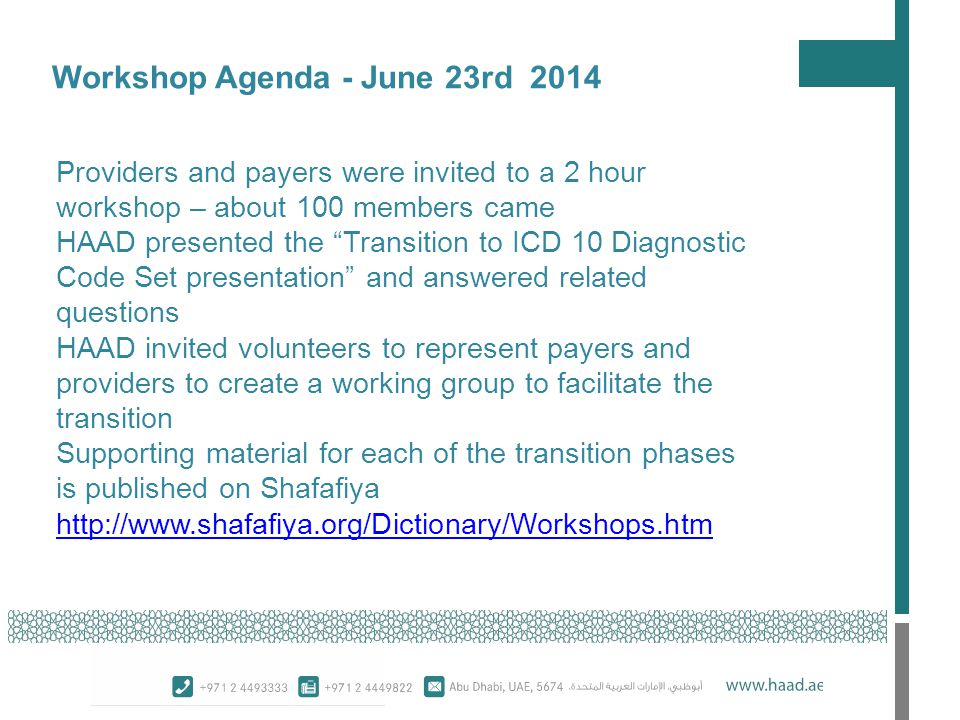 Workshop Agenda - June 23rd 2014