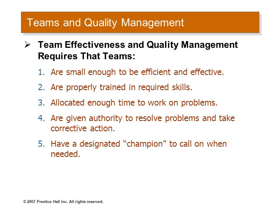 Teams and Quality Management