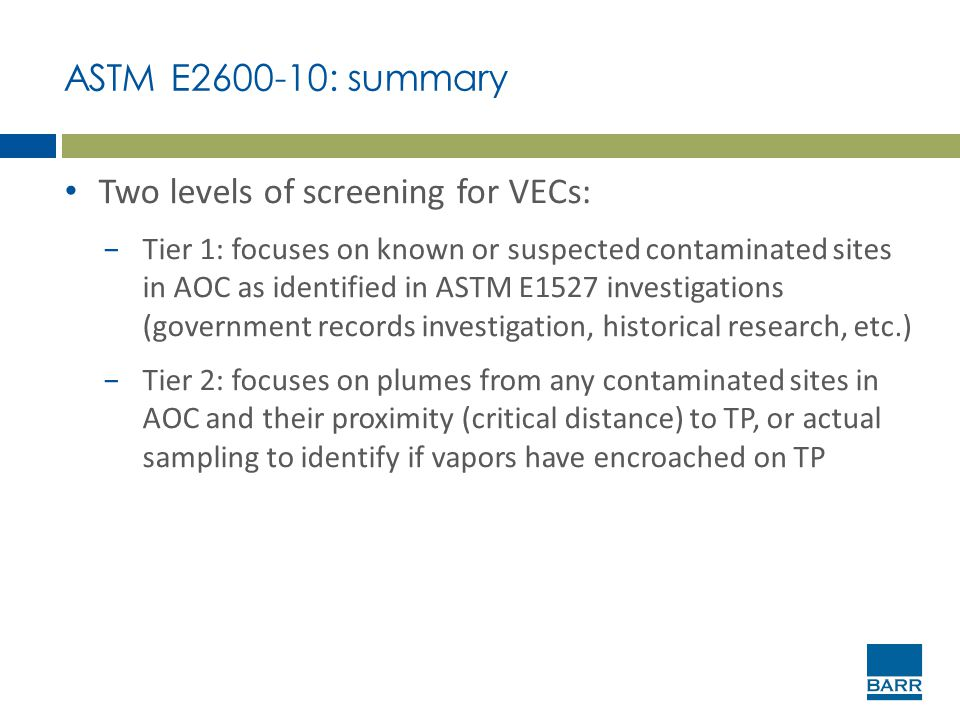 Two levels of screening for VECs: