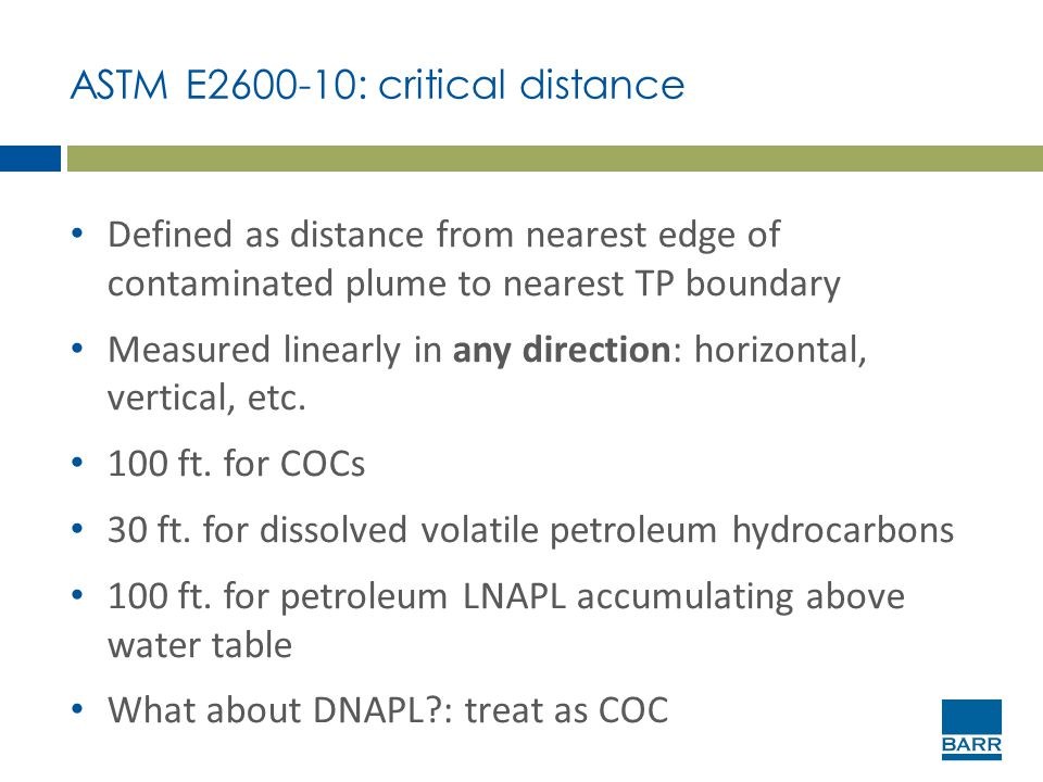 ASTM E2600-10: critical distance