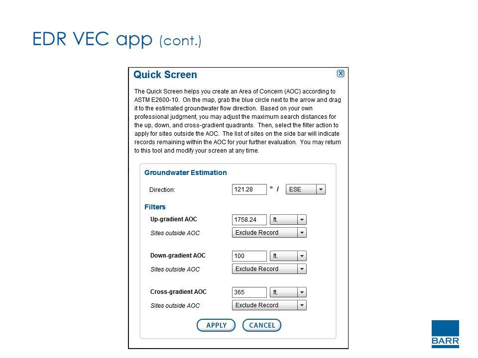 EDR VEC app (cont.)