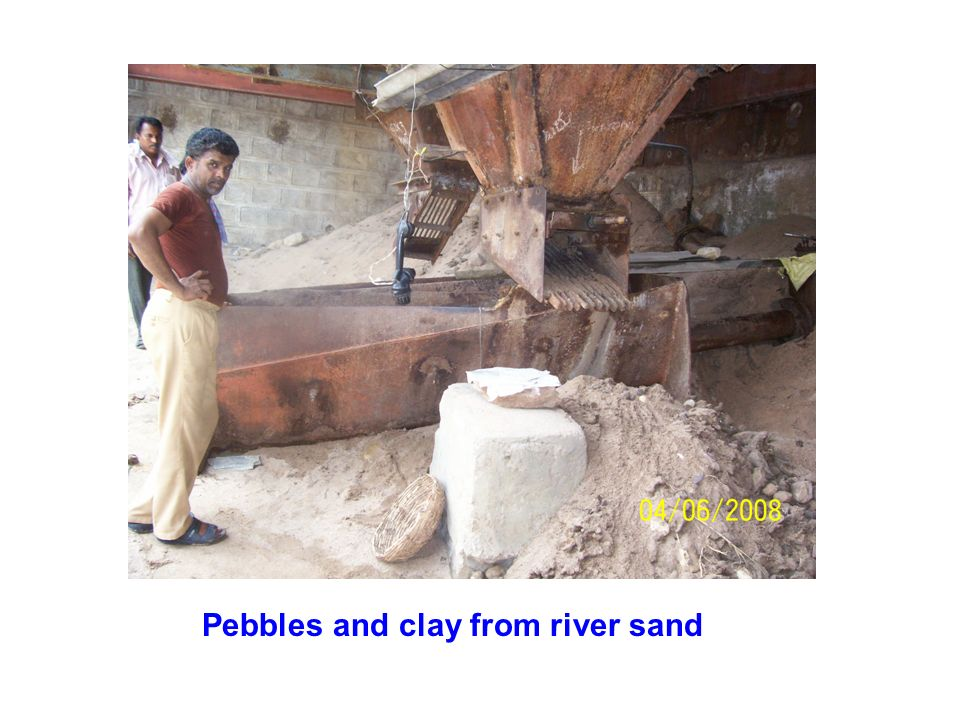 Pebbles and clay from river sand