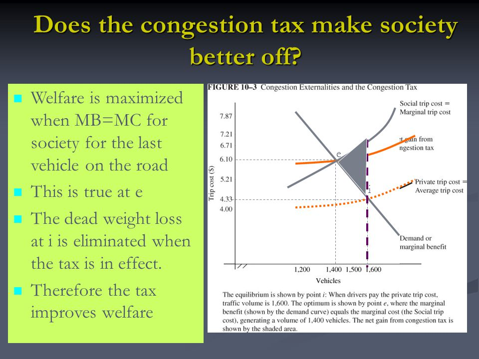 Does the congestion tax make society better off