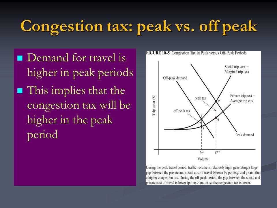 Congestion tax: peak vs. off peak