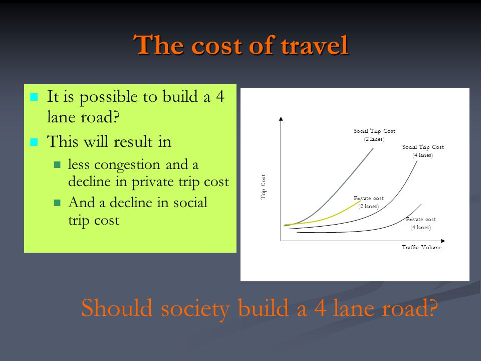 The cost of travel Should society build a 4 lane road