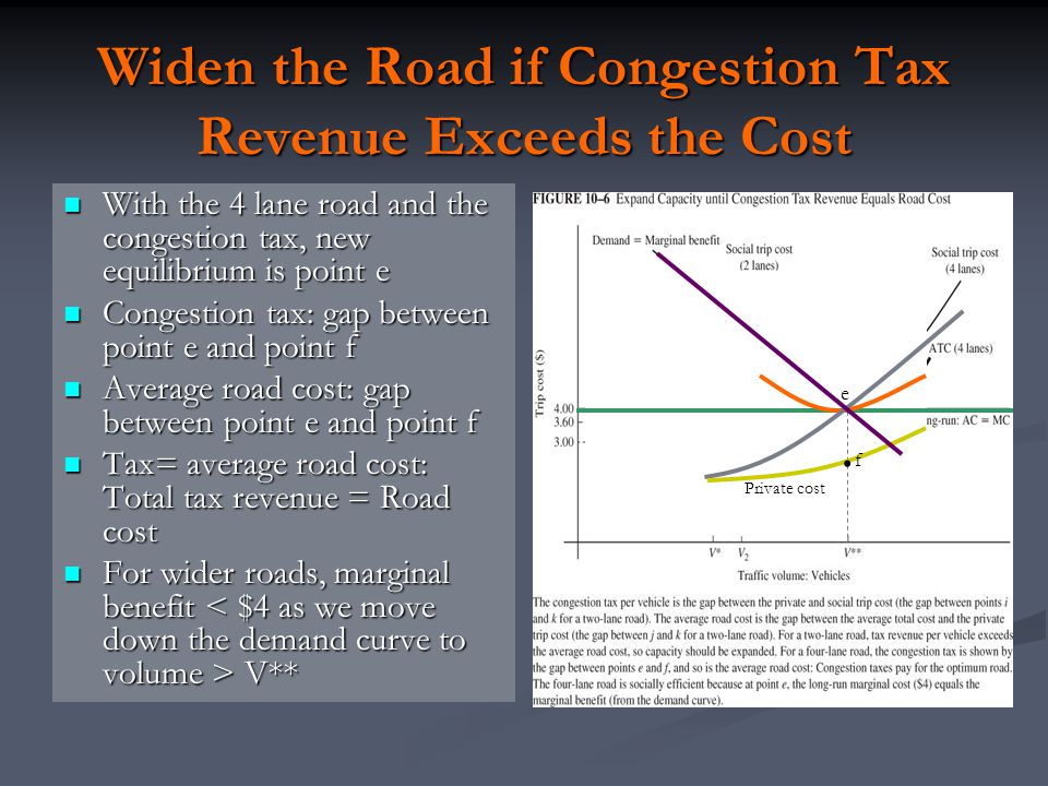 Widen the Road if Congestion Tax Revenue Exceeds the Cost
