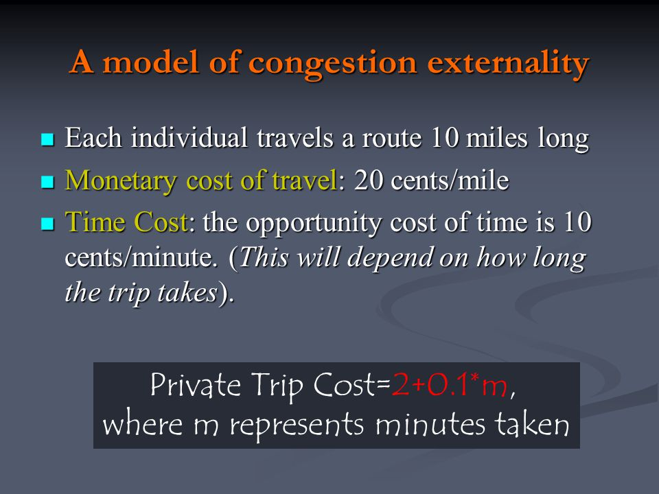 A model of congestion externality