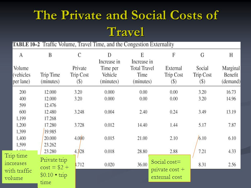 The Private and Social Costs of Travel
