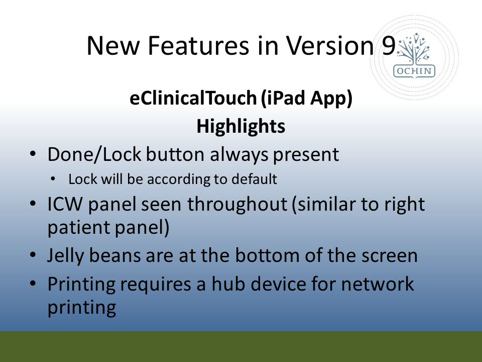 New Features in Version 9