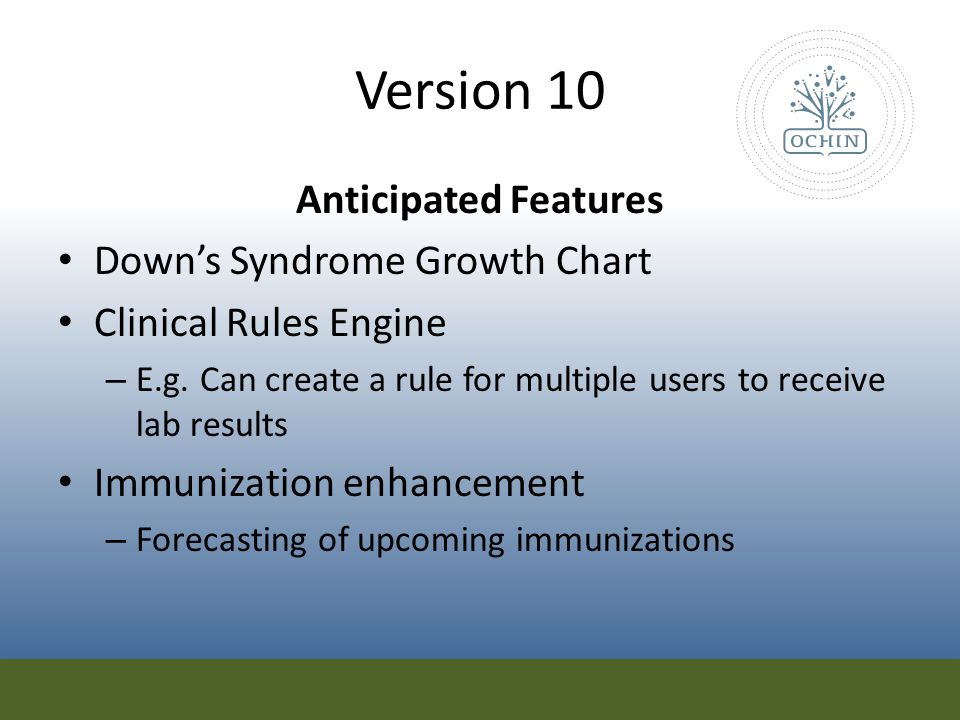 Version 10 Anticipated Features Down's Syndrome Growth Chart
