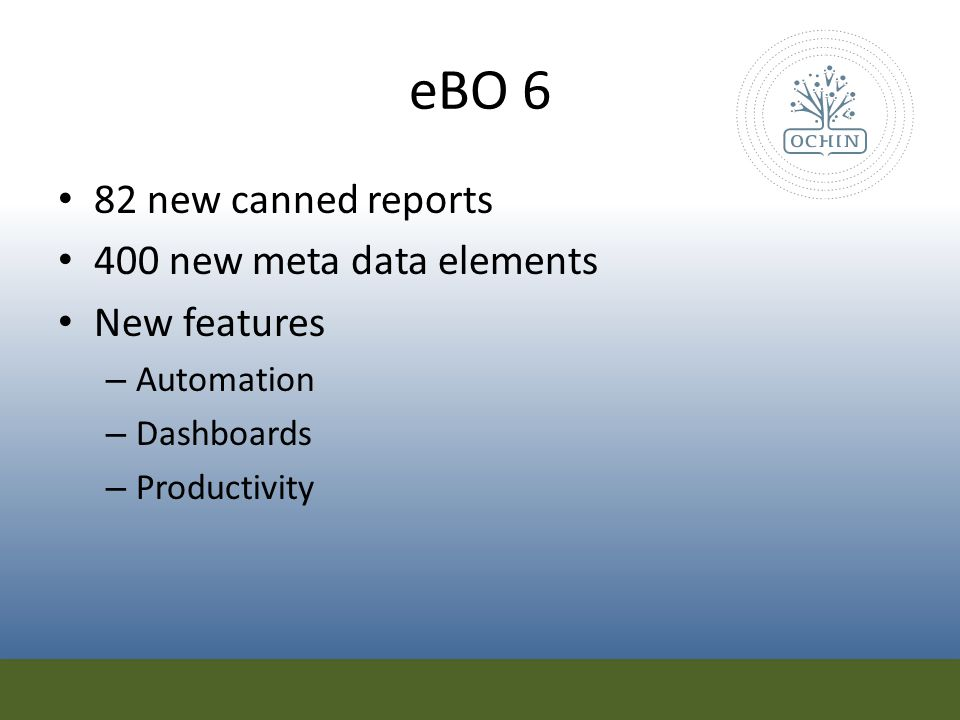 eBO 6 82 new canned reports 400 new meta data elements New features