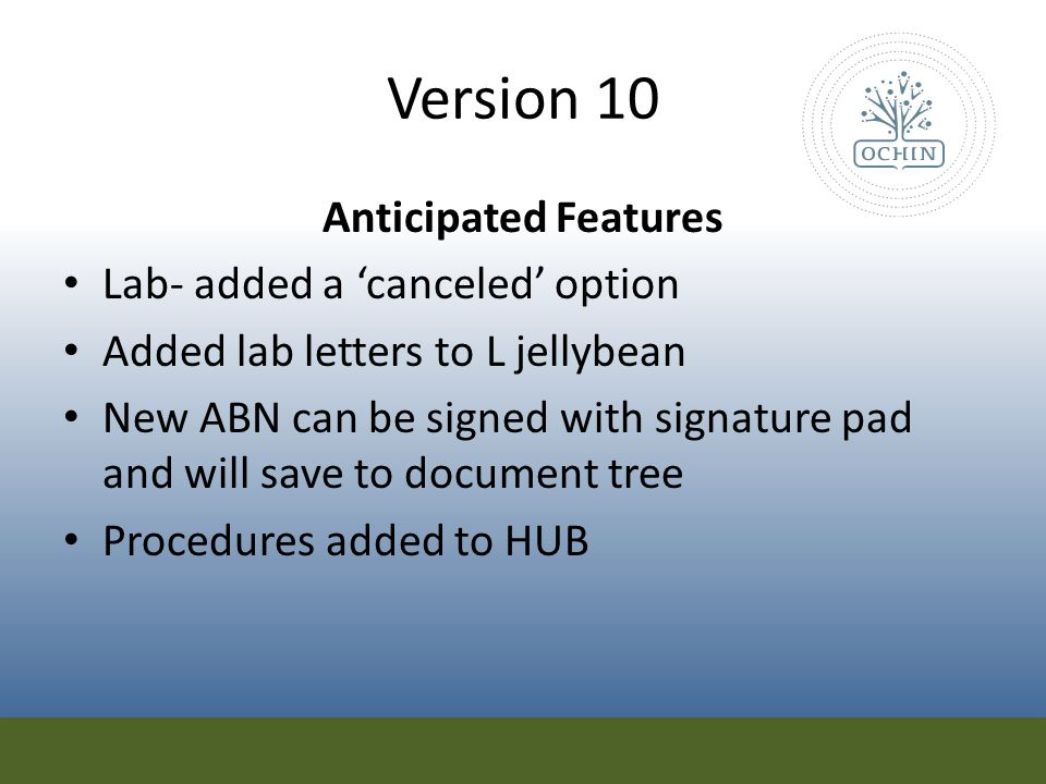 Version 10 Anticipated Features Lab- added a 'canceled' option