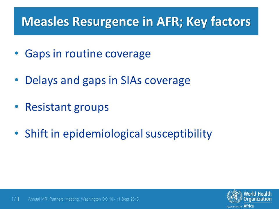 Measles Resurgence in AFR; Key factors