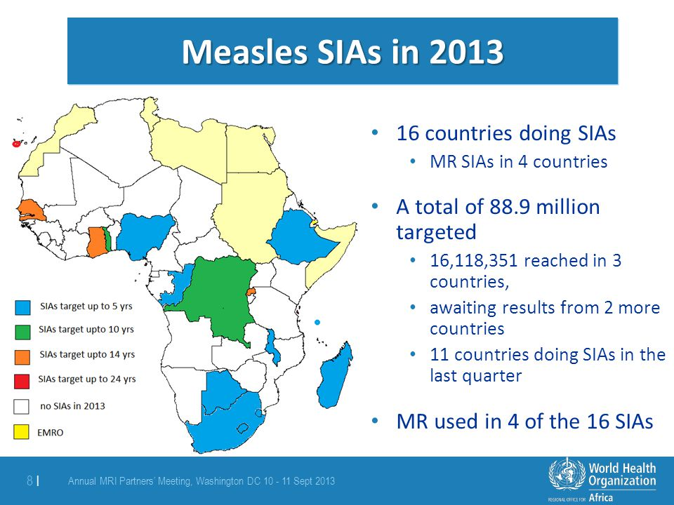 Measles SIAs in 2013 16 countries doing SIAs