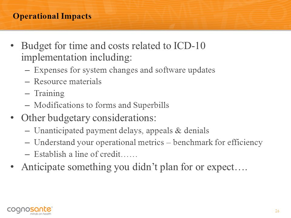 Budget for time and costs related to ICD-10 implementation including: