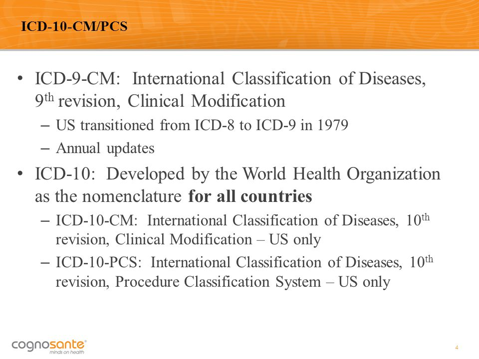 ICD-10-CM/PCS ICD-9-CM: International Classification of Diseases, 9th revision, Clinical Modification.
