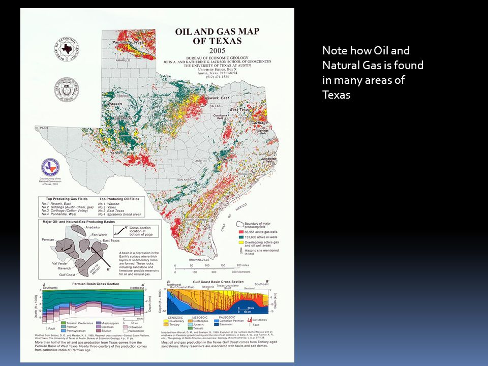 Note how Oil and Natural Gas is found in many areas of Texas