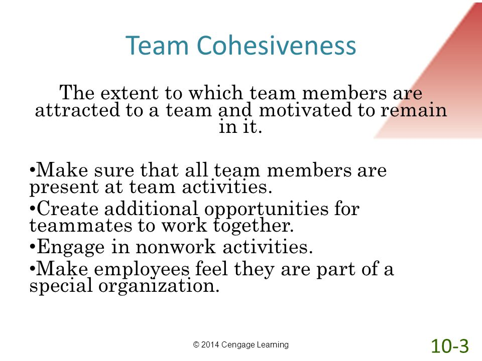 Team Cohesiveness The extent to which team members are attracted to a team and motivated to remain in it.