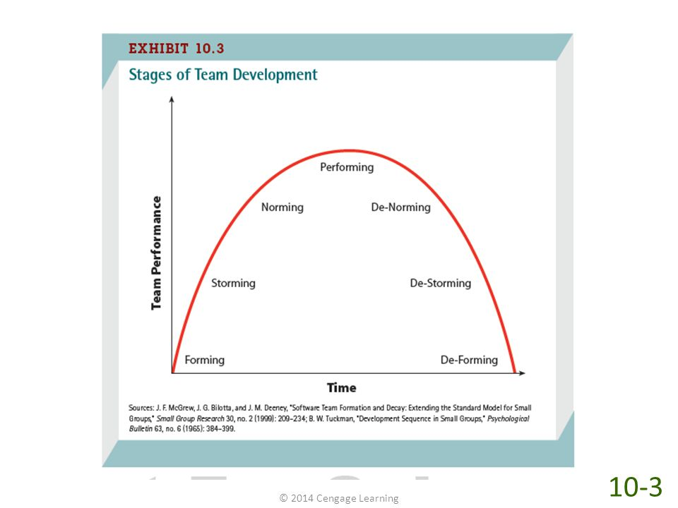 As teams develop and grow, they pass through four stages of development. As shown in Exhibit 10.3, those stages are forming, storming, norming, and performing. Although not every team passes through each of these stages, teams that do tend to be better performers.