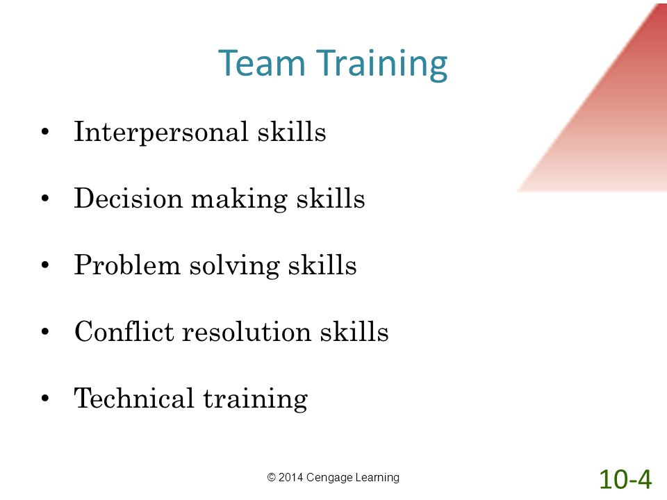 Team Training 10-4 Interpersonal skills Decision making skills