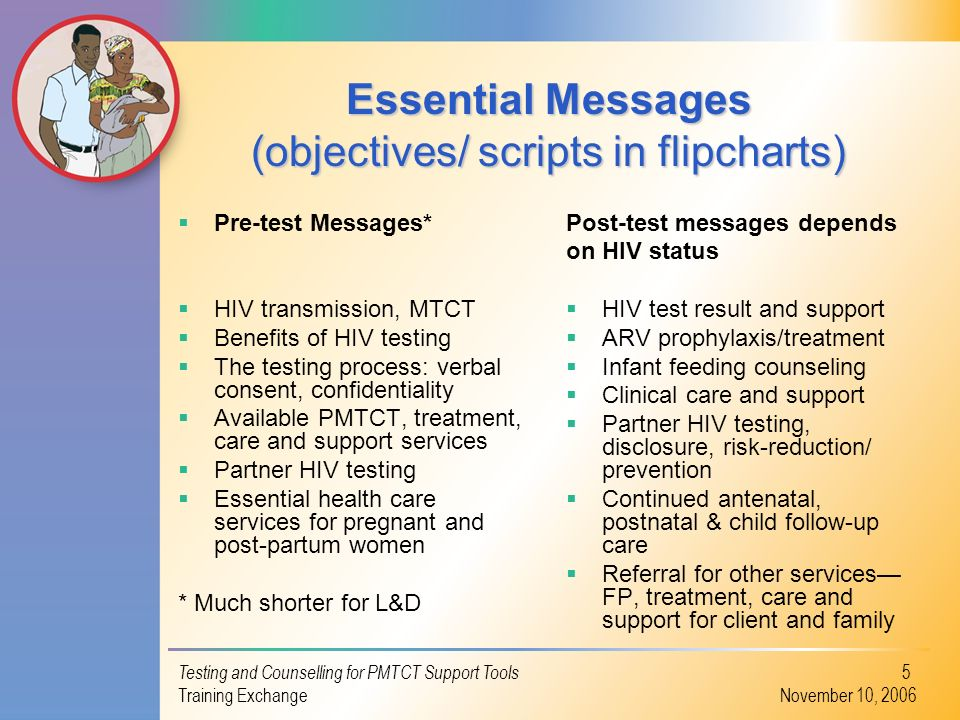 Essential Messages (objectives/ scripts in flipcharts)