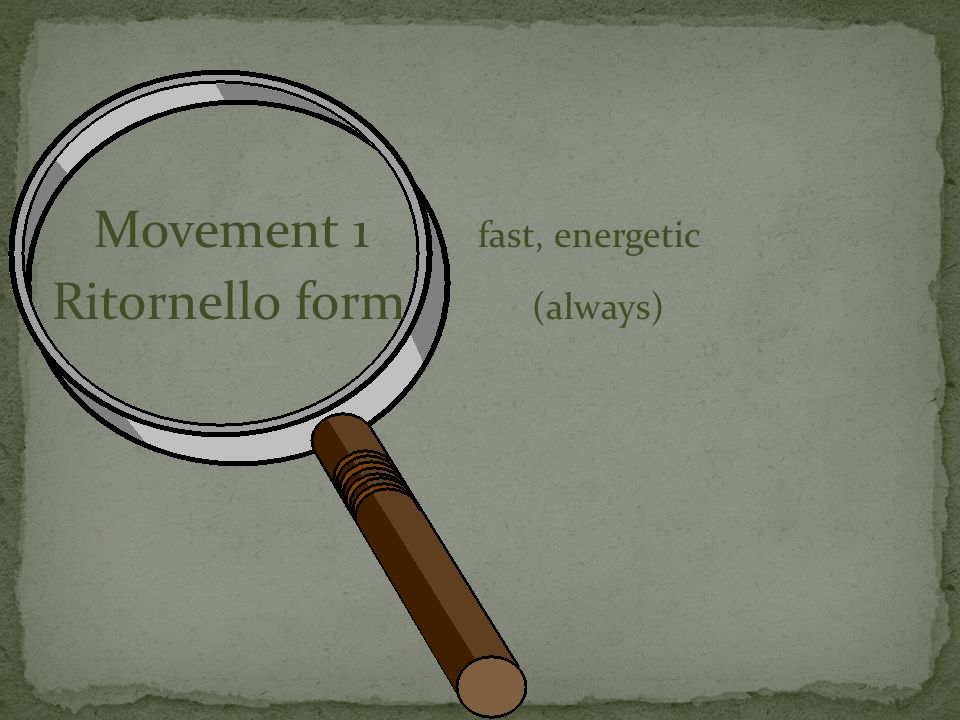 Movement 1 fast, energetic